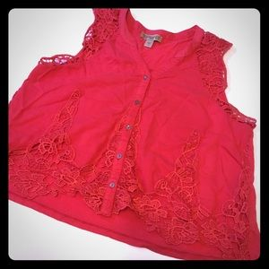 Vintage America red lace top
